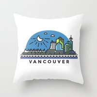 vancouver Throw Pillows featuring Vancouver by Campbell Graphix