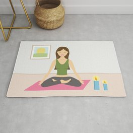 Yoga Girl In Lotus Pose Cartoon Illustration Rug
