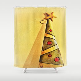 minimal Christmas tree ornament Shower Curtain