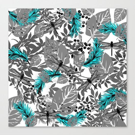 PALM LEAF DRAGONFLY BLUE Canvas Print