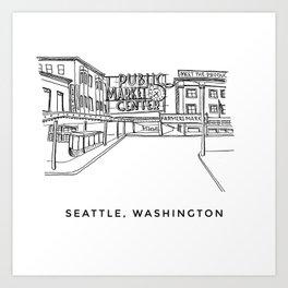 Seattle Pike Place Sketch Art Print