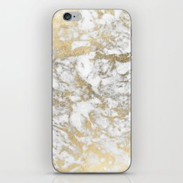Modern chic faux gold white elegant marble iPhone Skin