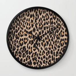Animal Print, Spotted Leopard - Brown Black Wall Clock