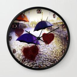 Three Lonely Hearts In the Rain Wall Clock