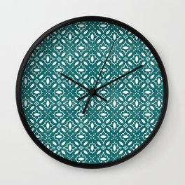 Emerald & White Seamless Pattern Wall Clock