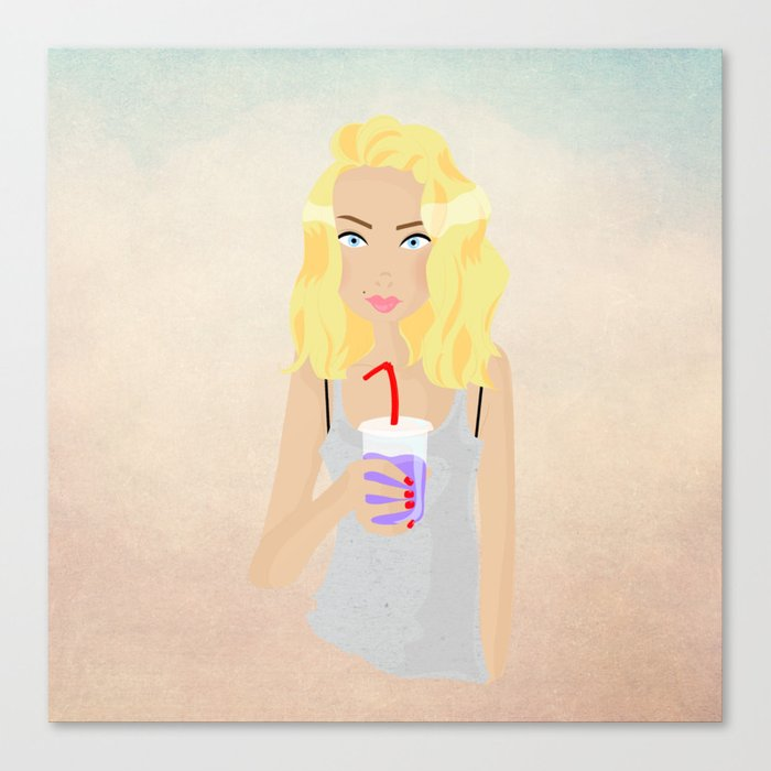 Milk shake girl Canvas Print