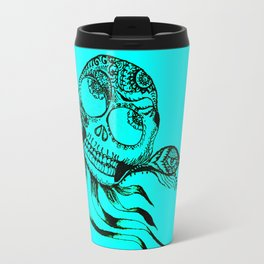 49. Henna Skull with Eye Flying in the Halloween Night as Metal Style Travel Mug
