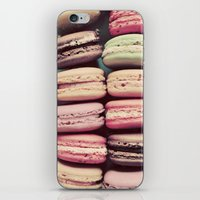 macarons iPhone & iPod Skins featuring Macarons by elle moss