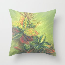 Colorful Leaves on colored paper Throw Pillow