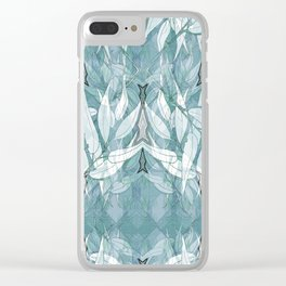 Tribal Lines and White Leaves Clear iPhone Case