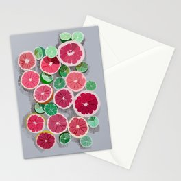 Juicy grapefruits on a gray background Stationery Cards