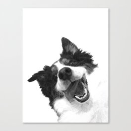Black and White Happy Dog Canvas Print