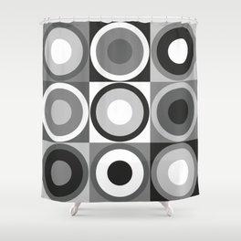 Retro circles in black & white Shower Curtain