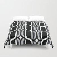 bauhaus Duvet Covers featuring Bauhaus Type Black and White Art by Addison Barker