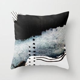 Closer - a black, blue, and white abstract piece Throw Pillow