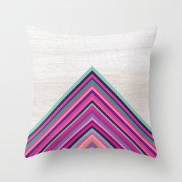 Wood and Bright Stripes, Chevron - Geometric Design Throw Pillow