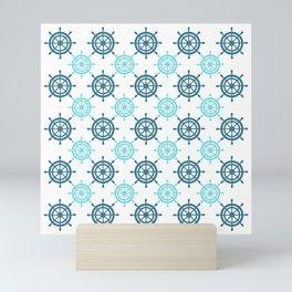 Nautical Seafarer Wheel Retro Seamless Pattern Mini Art Print