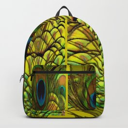 GREEN-YELLOW PEACOCK FEATHERS ART DESIGN Backpack