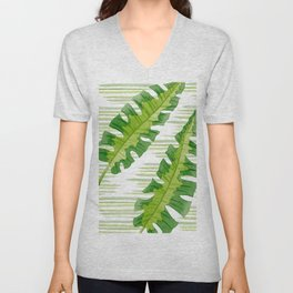 Tropical Leaves Watercolor Painting Unisex V-Neck