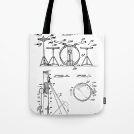 Drum Set Patent - Drummer Art - Black And White Tote Bag