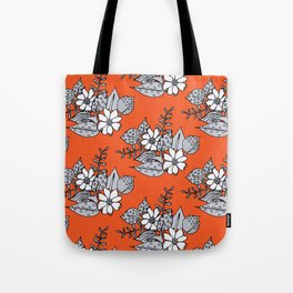 Orangey Gray Floral Tote Bag