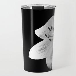 White Lily Black Background Travel Mug
