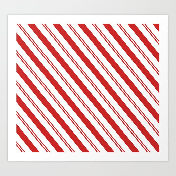 Red and White Candy Cane Stripes, Thick and Thin Angled Lines, Festive Christmas Kunstdrucke