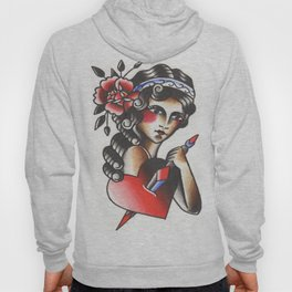 Girl with The Dagger through the Heart Tattoo Flash Watercolor Hoody