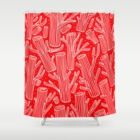 woody allen Shower Curtains featuring Woody by yellow pony
