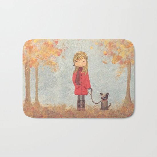 Little girl with dog in autumn landscape Bath Mat