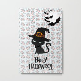 Black Cat - Happy Halloween Metal Print