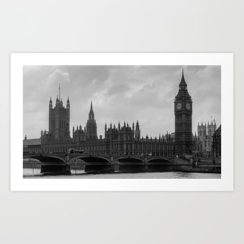 London black white art print by urbancandy society6