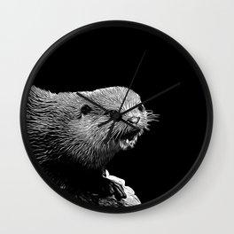 fish otter on a rock vector art black white Wall Clock