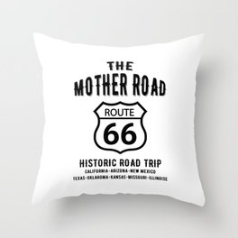 The Mother Road Route 66 - Historic Road Trip Throw Pillow