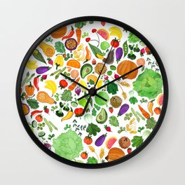 Fruit and Veg Pattern Wall Clock
