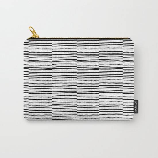 Broken Stripes pattern black and white modern urban brooklyn monochromatic print design ink  Carry-All Pouch