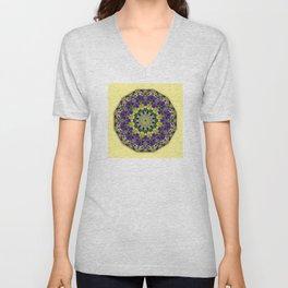 Pansies, Flower Mandala, Unisex V-Neck