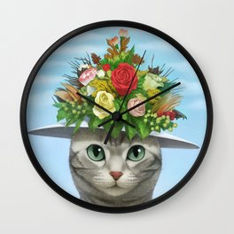 A cat wearing a flower hat Wall Clock