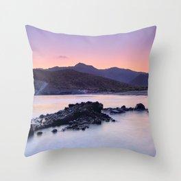 Half Moon Beach. Purple Sunset At The Mountains Throw Pillow