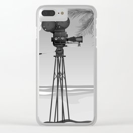 Vintage old time movie camera on a beach Clear iPhone Case
