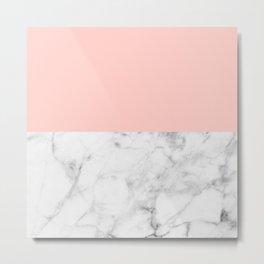 White Marble & Peach Metal Print