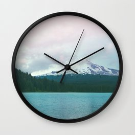 Mountain Lake - Nature Photography - Turquoise Teal Pink Wall Clock