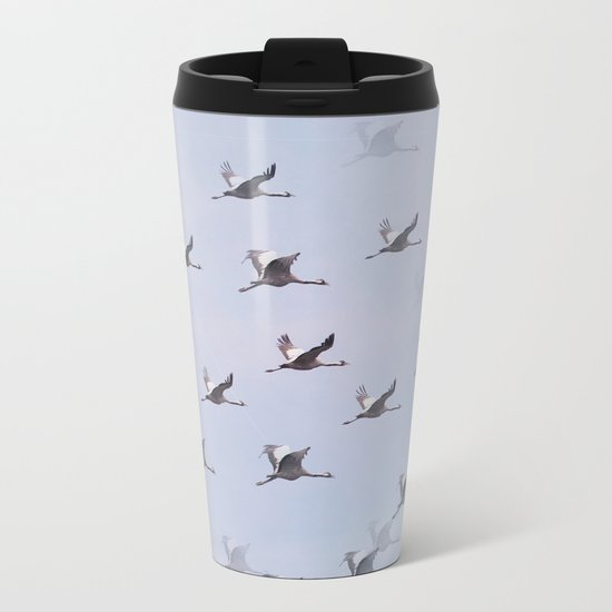 Cranes in Flight II Metal Travel Mug