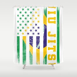 Jiu Jitsu Hoodie Brazilian BJJ Brazil United States Flag Shower Curtain