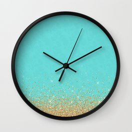 Sparkling gold glitter confetti on aqua teal damask background Wall Clock
