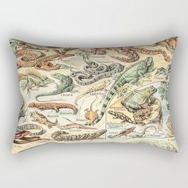Reptiles II by Adolphe Millot // XL 19th Century Snakes Lizards Alligators Science Textbook Artwork Rectangular Pillow