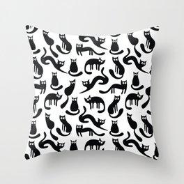 Feline Good - Black & White Throw Pillow