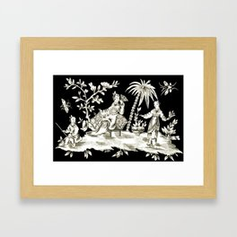 Black & White Chinoiserie Framed Art Print