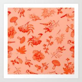 Red Autumn Botanical Pattern Art Print