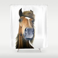 pony Shower Curtains featuring Chestnut Pony by Rachel's Pet Portraits